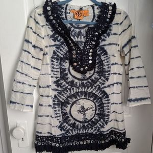 Tory Burch tunic tie-dye with mirrors